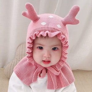 Hat Autumn Winter Baby Plush Thickened Wool Ear Super Cute Boys and Girls One Cap
