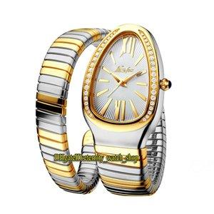 MISTFOX 2686-1 Мода леди Watches белый циферблат кварцевый механизм женские часы замороженные алмазы безель стальные корпус двойные два тон золота серебряный браслет