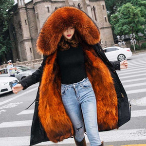 Special Offer New Winter Fur Coat Fur Women Warm Coat Thick Jacket Parka Real Collar Hooded Female Outwear