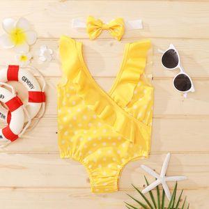 Kleinkind Baby Mädchen Badeanzüge Kinder Einteiler Punkt Gedruckt Rüschen Sleeveless V-Ausschnitt Bikini Beachwear Nettes Bading Swim 2021