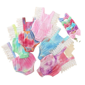 Toddler Girls Jumpsuits Lace Sleeveless Solid Pit Strip Camisole Suspender Vest Tops Triangle Shorts With Headband Baby Rompers GWE4914