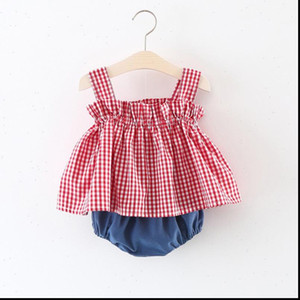 0 2Y Baby Girl Kids Summer Cool Clothes Infant Sleeveless Dress Strap Checked Top Short Solid Bottoms Pantie Outfit 2PCS