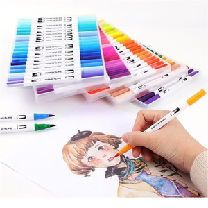 Fineliner Dual Tip Brush Art Markers Pen 12 48 72 100 120 Colors Watercolor Pens For Drawing Painting Calligraphy Art qyltmF