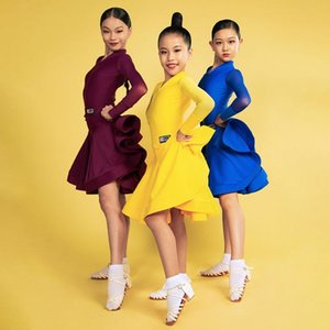 Stage Wear H6139 Girls Standard Latin Dance Competition Dress Kids V Collar Long Sleeves Pro Costume For Tango Chacha Samba Performance