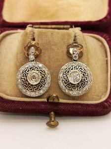 ARTDECO STYE MY DESIGN DIAMOND DECORATED 14K GOLD EARRING zumrut ruby diamond luxury 0308