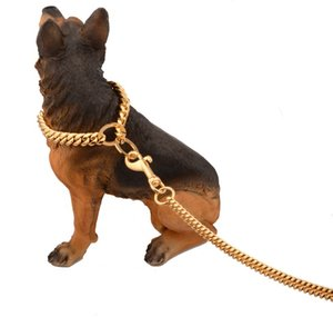 Metal Stainless Steel Pet Dog Gold Collar Lead Super Outdoor Big Dog Training Chain Collar Decor Necklace For All Dogs 10E 747 K2