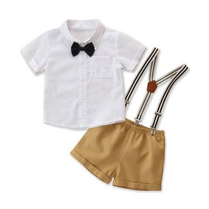 Boys Sets Baby Boys Clothes Infant Outfits Summer Bow Tie Short Sleeve Shirt Suspenders Shorts 2Pcs Suits Toddler Sets 1-5Y B4146
