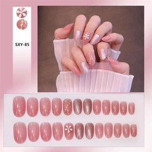 False Nails 24pcs Spar Wear Short Paragraph Fashion Manicure Patch Save Time Wearable Nail Unhas Postiças