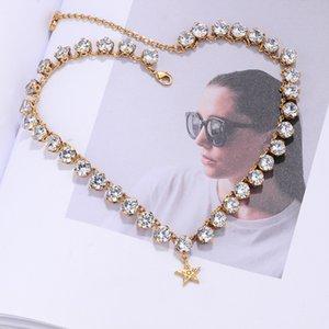CD star pendant full zircon chain necklace women's 2020 new Dijia elegant noble choker necklace bracelet