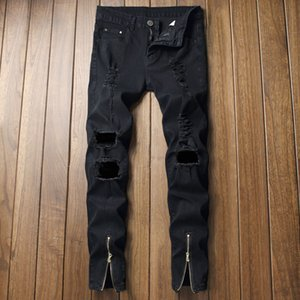 Fashion Mens Ripped Ankle Zipper Black Jeans Individuality Design Feet Slim Stretch Diesel Pencil Pants Hommes Cowboys Trousers Q0128