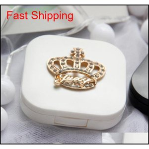 1 PZ Contact Lens Box Travel Portable Contact Lens Case Kit Rhinestone Jllyjd DH_Garden