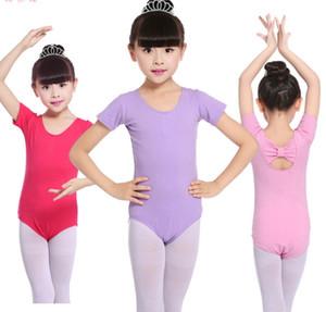 Bambini Ballet Dance Uniforms Bambini Abbigliamento Performance Abbigliamento Ragazze Back Bow Manica corta Balletto Uniformi Bambini Ballo Costume A5838