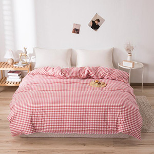 2021New Luxurious Printed 4pcs Bedding Sets Plaid Stripe King Size Duvet Cover Set Single Double Queen Soft Bed Sheets