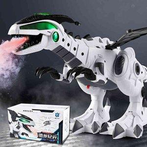 QWZ New Large Dinosaur Toys For Kids White Spray Electric Dinosaur Animal Robot Model Mechanical Pterosaurs for Children Gift