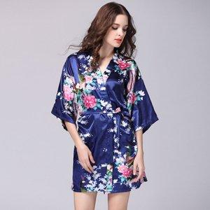 Дамы Пижама Ледяные шелковые шелковые V-образные вырезывания ночная рубашка летние рукава павлин пижамы повседневная домашняя одежда оптом