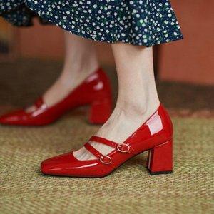 드레스 신발 2021 특허 PU 가죽 격자 무늬 붉은 버클 스트랩 레이디 사무실 펌프 블록 6cm 높은 굽의 여자 메리 janes 크기 43 45
