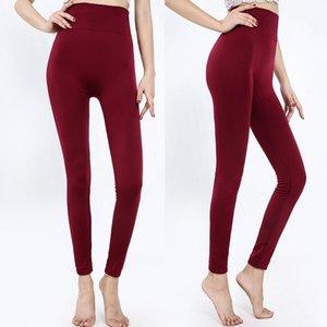 Otoño e invierno Cepillado Velvet Fine Nine-Point Leggings Women Outer Wear High-cintura Pantalones térmicos integrados sin fisuras