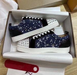 Red Bottom Sneakers Shoes!! Brand Luxury Men,Women Casual Walking Blue Benim Graffiti Designer Outdoor Platform Trainer Discount Footwear