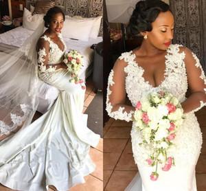 2021 Long Sleeves Wedding Dresses Luxury Beaded Pealrs Lace Applique Scoop Neck Illusion Sweep Train Plus Size Wedding Gown vestido de novia