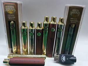 Best Vape Brass Thuckles Battery 650mAh 900mAh Gold Wood Wood Tensione Valtaggio regolabile per la sigaretta elettronica E-sigaretta per 510 Cartuccia del filo