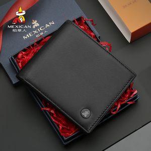 Scarecrow Men's Wallet Sheepskin Thin Gift Box Leather Short Fashion Businesswallet