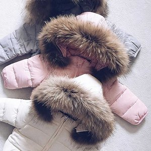 Baby Boy Girl Winte Down Jacket Thick Cotton Padded Infant Toddler Fur Hooded Coat Solid Snow Suit Zipper Baby Clothes 1-7Y 0930