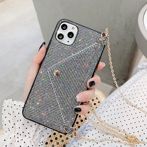 Luxury Glitter Shining Wallet Card Phone Case For iPhone 12 11 Pro Max XR XS Max X 7 8 Plus Diamond Crossbody Back Cover With Lanyard