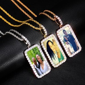 Custom Made Photo Square Medallions Solid Back Pendant Cubic Zirconia Men's Hip Hop Jewelry Bling Picture Charm Iced Out Pendant