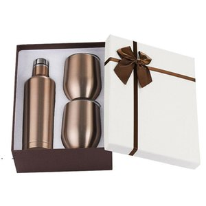 3pcs set Gift Wine Tumbler Set Stainless Steel Double Wall Insulated With One 500ml Bottle Two 12oz Wine Tumbler AHD4954