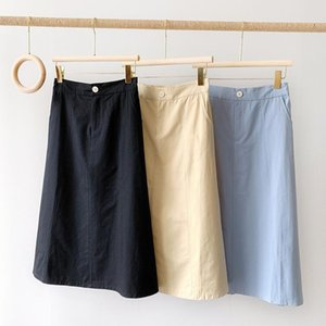 Skirts 2021 Spring Summer Casual Solid Color Cotton Skirt Women Long Slim Midi Lady Fashion High Waist All-Match Femme