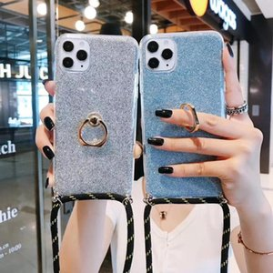 Necklace Strap Rope Cord Phone Case For Note20Plus Note10Lite S20Plus A51 A71 S10Plus S10 lanyard With Finger Ring Glitter Cover