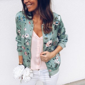 Flower Printer Rits Casual Ja Women 2021 Spring Summer Long Mouwen Loose Bomber Jaet Jas o Ne Fashion Tops Top Clothing
