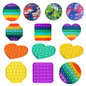 30 style Rainbow Fidget pop Toy Sensory Push Bubble Autism Special Needs Anxiety Stress Reliever for Office Workers Fluorescence