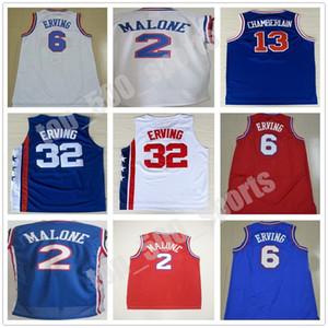 Высочайшее качество 2 Моисей Malone 6 Юлиус Ивинг Джерси Синий красный белый 32 Юлиус Iving 13 Wilt ChamberLain сшитые баскетбольные майки