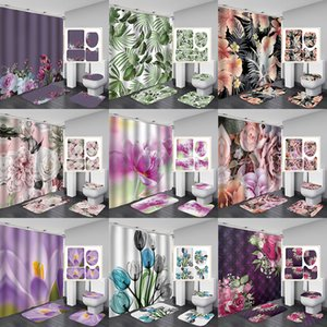 4 pçs / set acessórios do banheiro Curtain de chuveiro Curta de toalete em forma de U-em forma de esteira do chão do banheiro, 9 tipos de estilo de planta XD24583