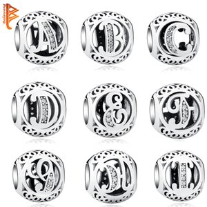 Authentic 925 Sterling Silver Crystal Alphabet A-Z Letter Charms Beads Fit Original Pandora Bracelet Necklace DIY Jewelry Making Q0225