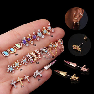 1PC 20G Flower Cross Stainless Steel Barbell Cz Tragus Cartilage Earrings Multicolor Crystal Stud Earring Piercing Jewelry