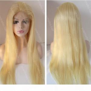 Yeni Moda 26 inç Platin Sarışın 60 Bakire Çin Saç Bebek Saç Tam Dantel Peruk Ücretsiz Kargo