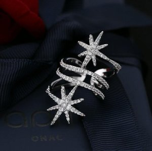 Choucong Unique Star Diamond CZ Zircon Gemstones Ring White Gold Filled Engagement Wedding band Rings for Women Bridal Vintage Party Jewelry Gift