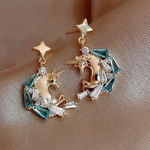 S925 Серебряная Игла Серьги с бриллиантами Unicorn Серьги Серьги Мода Прохладная Подвеска Серьги Женские Женщины Серьги