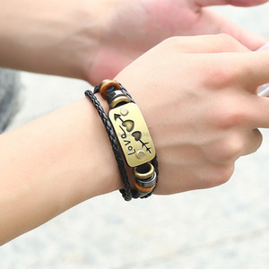 Fashion ID Tag Bracelet Couple Heart Leather Bracelets Men Women Multilayer Bracelet Fashion Jewelry Girlfriend Gift Will and Sandy