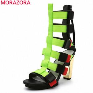 Morazora 2020 Nuova estate Sandali Donne Sandali spessi Tacchi alti Toppe Round Tone Party Shoes Fashion Black Color Classic Donne Pompe a cuneo Boots Comf F2C2 #
