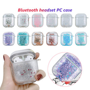 Liquid Quicksand Glitter for Airpods 1 2 PC Hard Case Protective Cover for Airpod Wireless Bluetooth Headset Earbuds Anti-drop