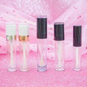 100pcs 5ml Lip Gloss Tube Vuoto Tubi di plastica Vuoti con berretto Bianco Cilindro Small Stick Sample Sample Lipgloss Bottiglia ricaricabile