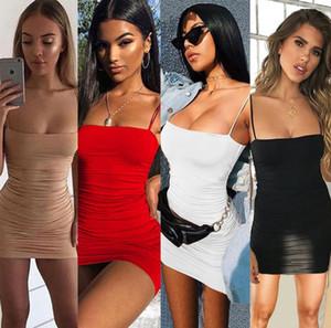 2021 Popüler Kayış Mini Saten Elbise Kadınlar Seksi Backless Çapraz Bandaj Bodycon Parti Elbise Pileli Streç Kısa Kulübü Elbise