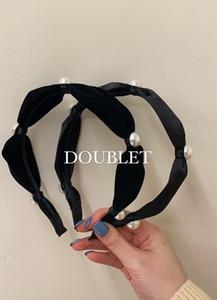 Double Korean granny style pearl velvet satin temperament hair band