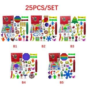 25pcs Set Christmas Fidget Toys Advent Calender Gifts Simple Dimple Decompression Toy Push Bubbles Xmas Gift Sea ship GWB10176