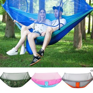 Parachute Cloth Automatic Fast Open Hammock Outdoor Camping Mosquito Net Hammock 9 Styles DHA8616