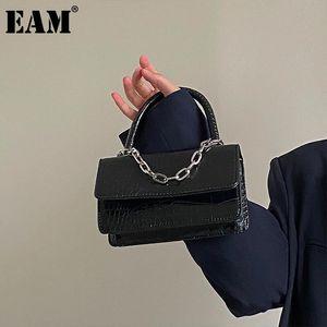 [EAM] Mujeres Nuevas Mini Bolso Chains PU Cuero Flap Sello personalidad All-Match Crossbody Shoulder Bag Fashion Tide 2021 18A1481