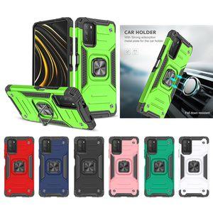 Darbeye Dayanıklı Zırh Manyetik Metal Kılıf Xiaomi Mi 10 T Lite Ultra Redmi 9A 9C Not 8 9 Pro Poco M2 X3 NFE Yüzük Kapak